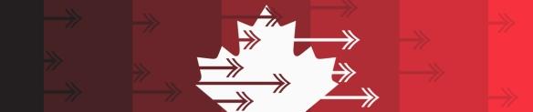 Image en couleur d'une feuille d'érable blanche sur fond rouge et ayant des flèches pointant vers la droite.