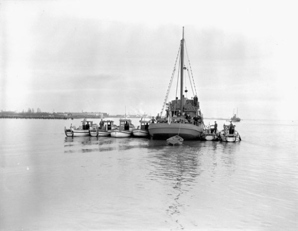 Photographie en noir et blanc de six bateaux de pêche appartenant à des Canadiens d'origine japonaise, confisqués trois jours après l'attaque de Pearl Harbor et attachés à un plus gros bateau.