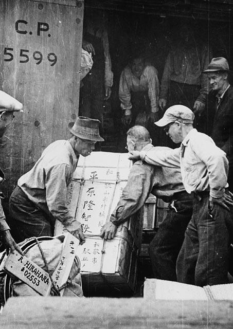 Photographie en noir et blanc de trois Canadiens d'origine japonaise qui chargent un wagon à destination d'un camp d'internement de la région intérieure de la Colombie-Britannique.
