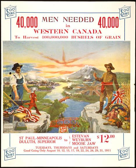 Affiche en couleur présentant un paysage avec des champs verts et des montagnes, ainsi que deux hommes debout au premier plan sur les rives opposées d'une rivière. L'un a un drapeau américain à ses pieds, tandis que l'autre tient l'Union Jack dans sa main et a une corne d'abondance à ses pieds; il fait signe à l'Américain de venir au Canada. Sous l'image, on trouve les lieux de départ et d'arrivée, les dates et le prix du voyage (12 $).