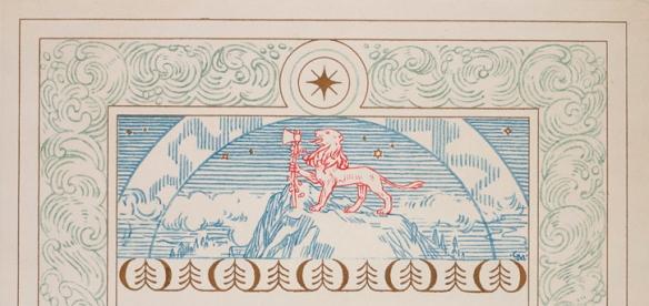 Détail du certificat montrant un lion rouge qui tient une hache, au sommet d'une montagne bleue et ceinturé de vagues bleues et d'une étoile dans un cercle.