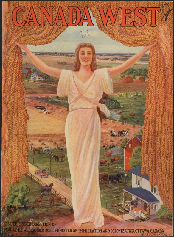 Page couverture d'un atlas en couleur présentant une femme blonde qui porte une robe de style grec et qui tient un rideau de blé doré ouvert afin de révéler une scène agricole avec tout ce que cela suppose de champs verts et dorés, de fermes, d'étables et de bétail.