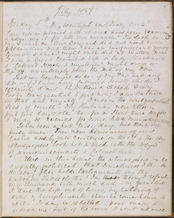 Page d'un journal intime écrite à l'encre en lettres cursives.