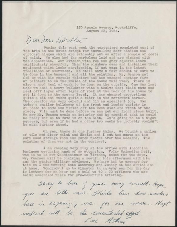 Une lettre dactylographié parlant de détails vis-à-vis un prochain déménagement.
