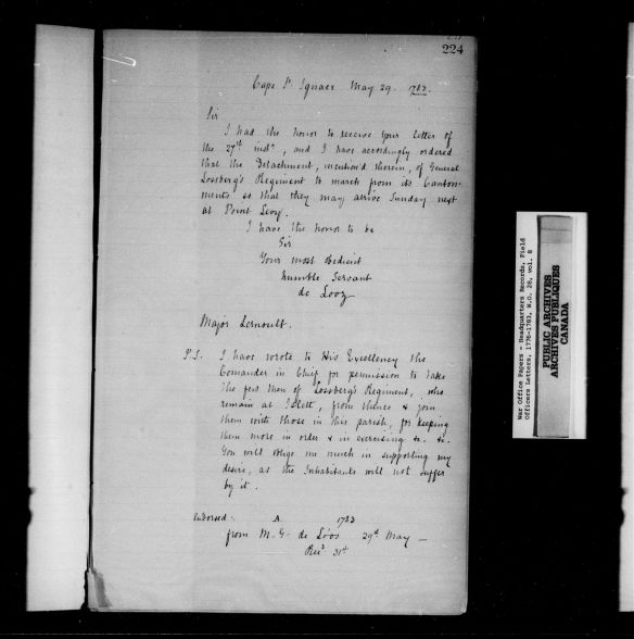 Une image montrant des ordres et des réponses manuscrits pour le régiment de Lossberg.
