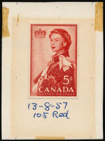 Timbre rouge sur lequel figure la reine Elizabeth II drapée dans une cape. Gravure d'une couronne dans le coin supérieur gauche.