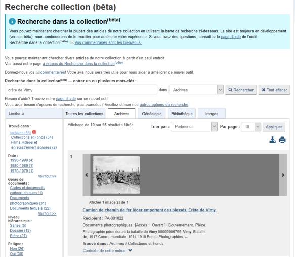 Capture d'écran de la nouvelle interface Recherche dans la collection (bêta) où sont affichés les résultats d'une recherche d'archives pour l'expression « crête de Vimy ».