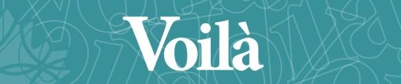 Bannière avec le mot VOILÀ en gros texte.