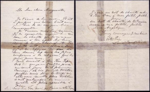 Lettre écrite à la main par Louis Riel, adressée à sa femme et à ses enfants.
