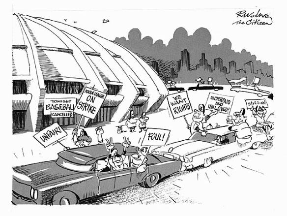 Caricature noir et blanc montrant de grosses voitures défilant devant un stade de baseball. Des personnages brandissent des affiches par les fenêtres des véhicules; on peut y lire différents slogans, dont « Unfair » [Injustice] , « We want rights » [Nous voulons des droits] et « Major League on Strike » [Grève de la Ligue majeure].