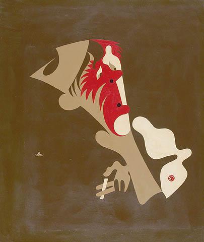 Une aquarelle montrant une silhouette stylisée d'un homme qui fume une cigarette.