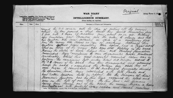 Une description du jour de combat écrite à la main.