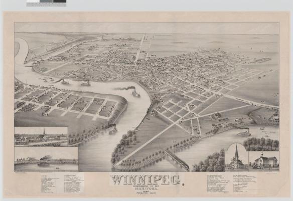 Une photographie en noir et blanc de Winnipeg (Manitoba), à partir d'une vue à vol d'oiseau. On aperçoit la rivière Rouge au centre et des bateaux à vapeur ainsi que des colonies et des routes principales le long des rives.