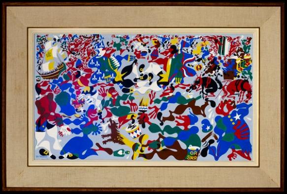 Peinture montrant des figures stylisées et divers objets.
