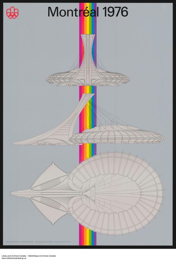 Affiche couleur conçue pour les Jeux olympiques de 1976. Elle illustre trois vues différentes du stade olympique, bâti pour les Jeux olympiques d'été tenus cette année-là à Montréal.