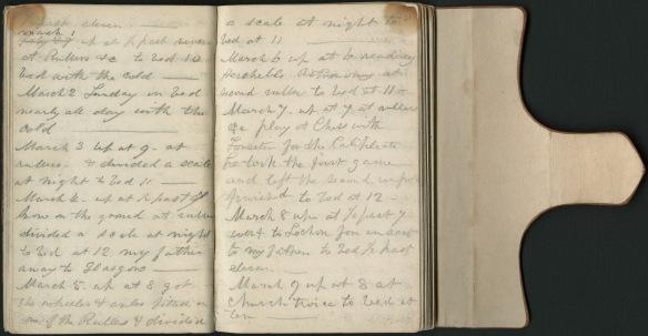 Le journal intime de Sandford Fleming, ouvert et montrant un exemple de son écriture.