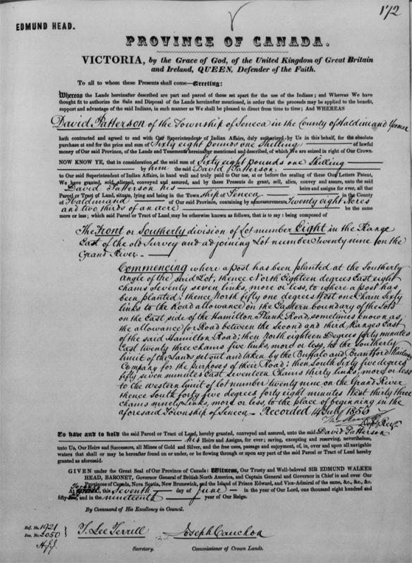 Photo noir et blanc d'un document officiel de la province du Canada décrivant avec précision l'emplacement et la taille d'un terrain concédé.