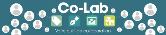 Une bannière turquoise avec les mots: Co-Lab - votre outil de collaboration