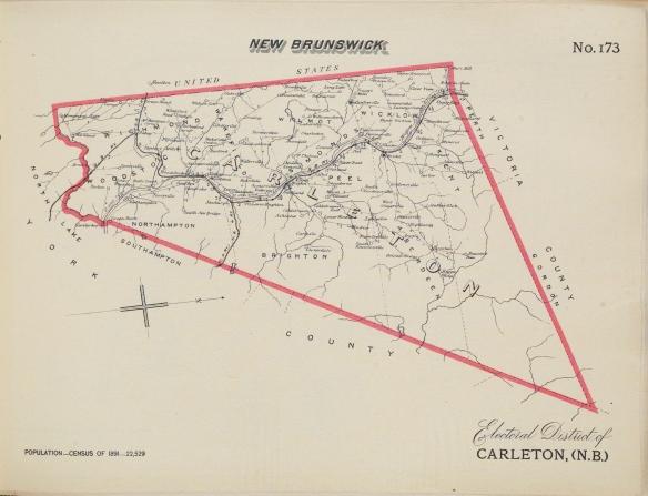 Une carte en noir et blanc du district électoral de Carleton (Nouveau-Brunswick); les frontières sont indiquées par un gros trait rouge.