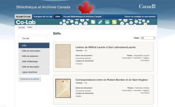 Une capture d'écran du Co-Lab montrant les différents défis de disponible.