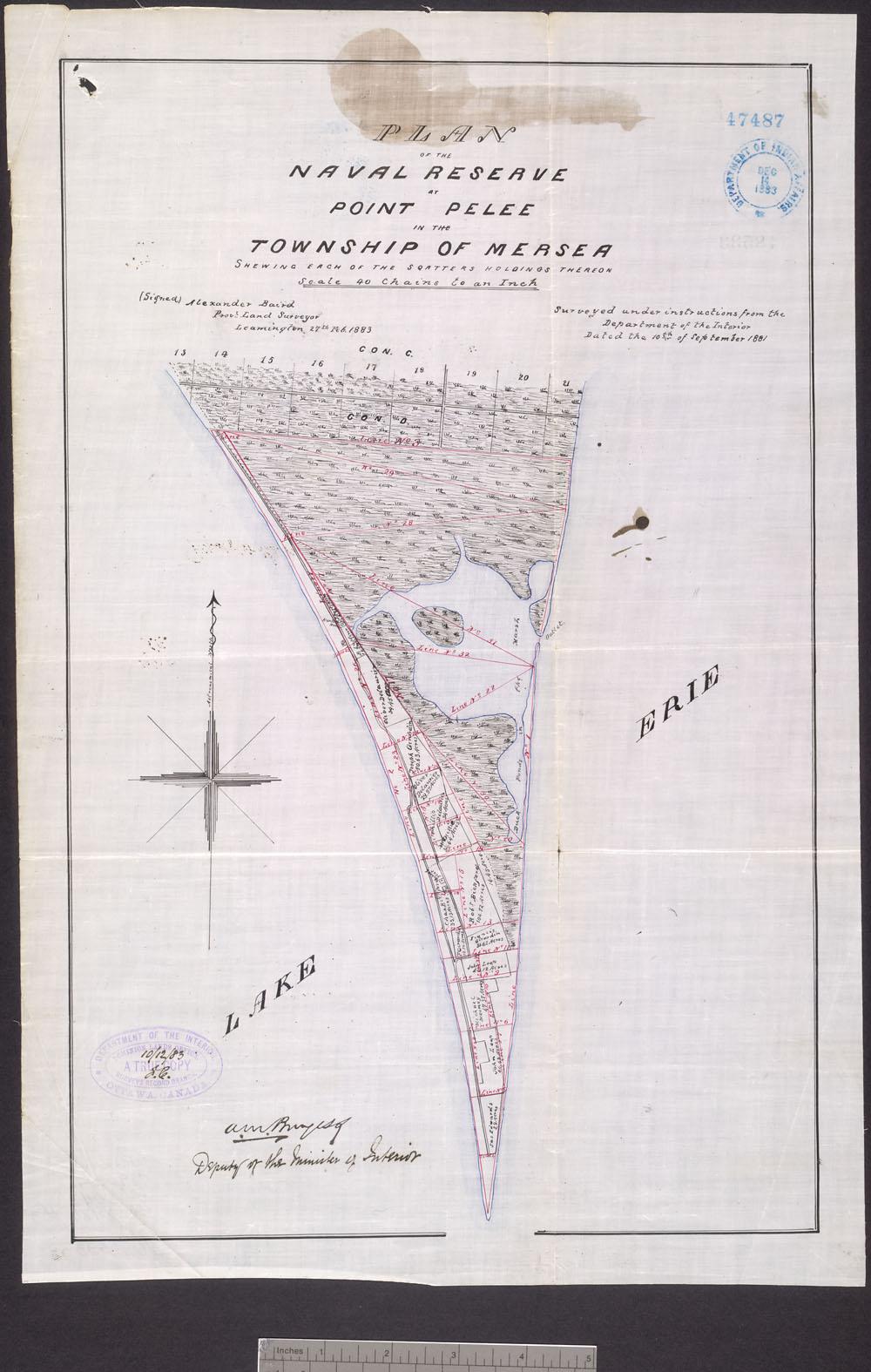 Plan noir et blanc de la Réserve navale de la Pointe-Pelée, dans le canton de Mersea.