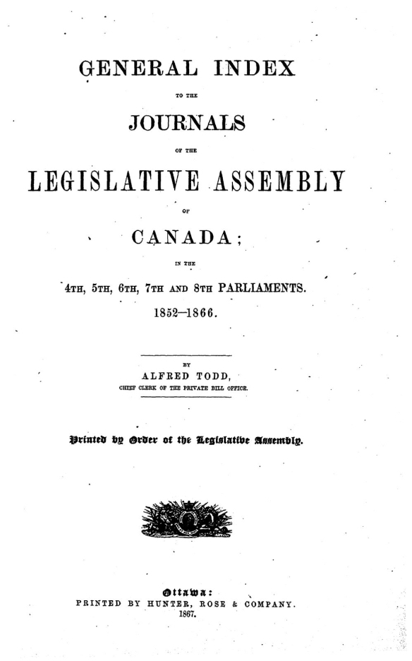 Page couverture dactylographiée se lisant ainsi : General index to the Journals of the Legislative Assembly of Canada: in the 4th, 5th, 6th, 7th and 8th Parliaments, 1852–1866.
