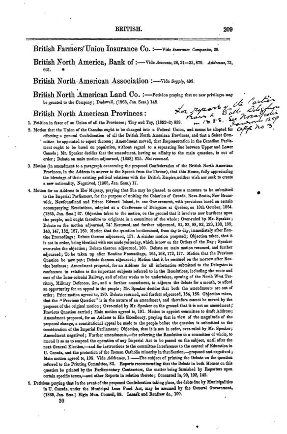 Page dactylographiée d'un index présenté en ordre alphabétique.