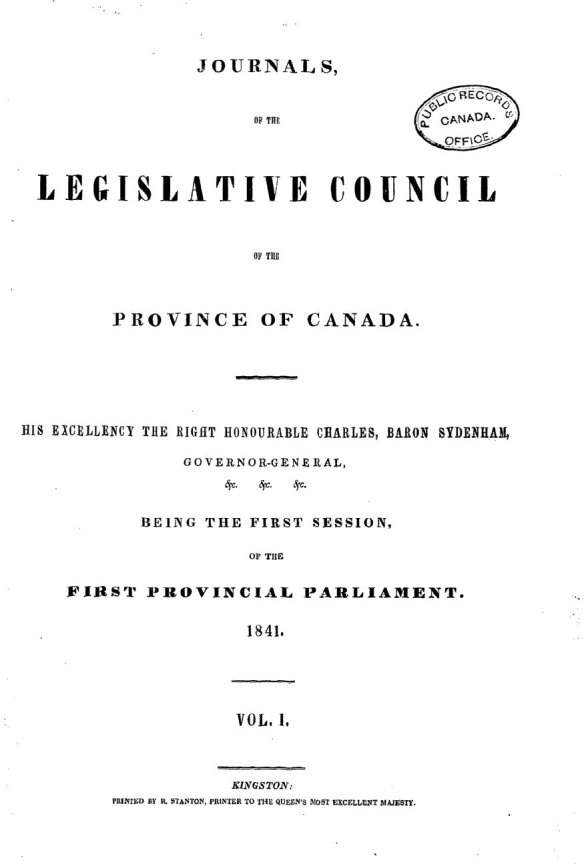 Page couverture de Journals of the Legislative Council of the Province of Canada.