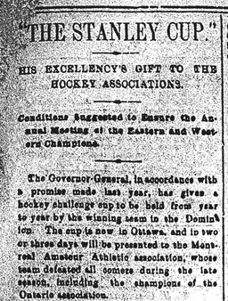 "Coupure de journal granuleuse d'un article portant le titre « ""The Stanley Cup."" His Excellency's gift to the hockey associations. »"