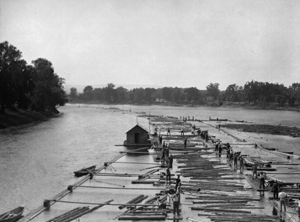 Photo noir et blanc d'une drave descendant une rivière.