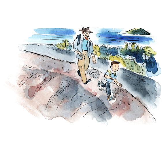 Une illustration en aquarelle d'un homme et d'un enfant portant des sacs à dos, en randonnée au bord de la mer.