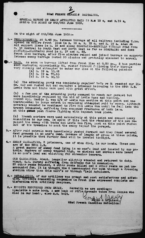 Rapport dactylographié décrivant les événements survenus pendant la nuit du 8 au 9 juin 1918.