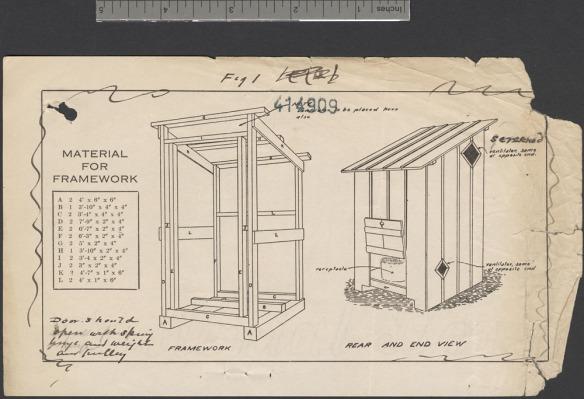 Plan dessiné dressant la liste des matériaux nécessaires à la construction d'une latrine en bois.