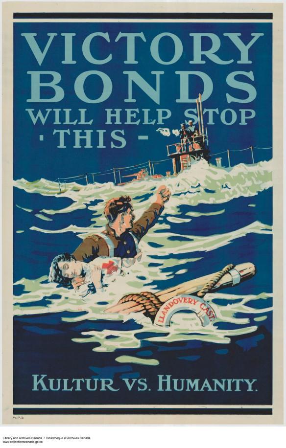 Affiche couleur représentant un soldat en uniforme avec « Canada » brodé sur une épaulette, qui soutient dans la mer une infirmière militaire inconsciente, habillée d'un tablier arborant une grande croix rouge. Le soldat lève le poing en signe de colère contre un sous-marin allemand, sur lequel des marins semblent tirer dans d'autres directions. Une bouée de sauvetage portant l'inscription « Llandovery Castle » flotte tout près. On peut lire « VICTORY BONDS WILL HELP STOP THIS » dans le haut de l'affiche et « Kultur vs. Humanity », dans le bas de celle-ci.
