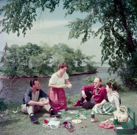Photo couleur de deux femmes et de deux hommes pique-niquant dans un parc sur la berge d'une rivière.