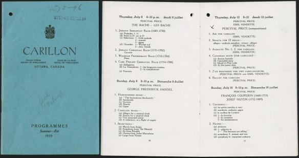 Collage de deux images montrant la page couverture d'un programme ainsi que l'intérieur du programme imprimé.