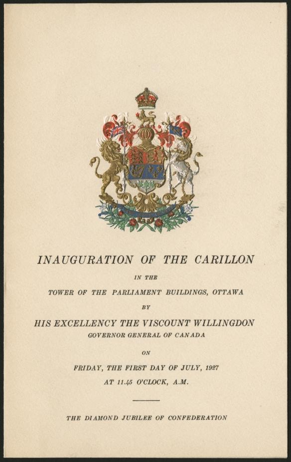 Image tirée du programme d'inauguration du carillon de la Tour de la Paix, le 1er juillet 1927.