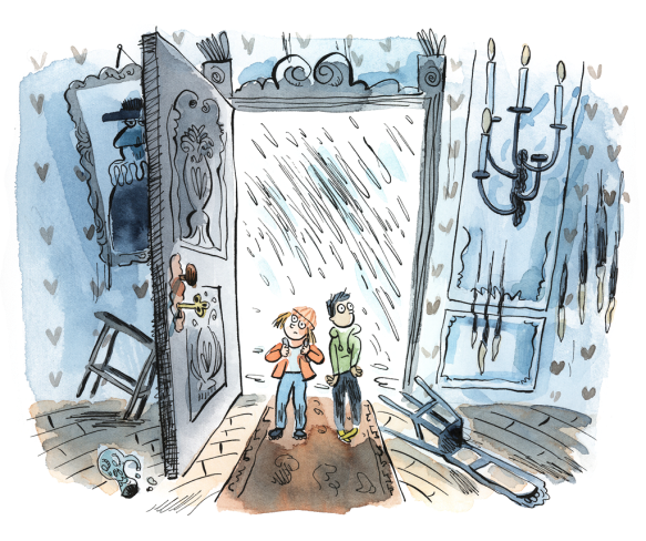 Une illustration en aquarelle montrant deux enfants s'abritant de la pluie dans une vielle maison abandonnée et sinistre.