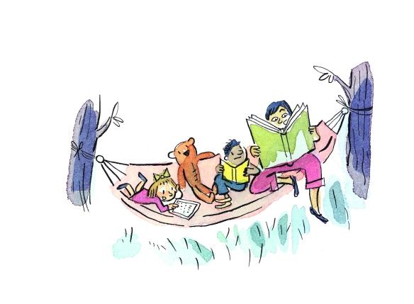 Une illustration en aquarelle de trois enfants lisant dans un hamac.