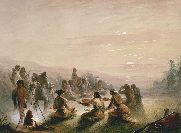 Tableau en couleur d'un groupe de familles assises en cercle s'apprêtant à déjeuner au lever du jour.