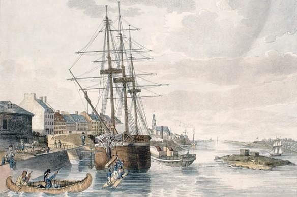 Estampe couleur du port de Montréal montrant un voilier mis à quai dont la marchandise est déchargée. Un bateau à aubes se trouve à bâbord, et deux hommes font du canot devant sa proue.
