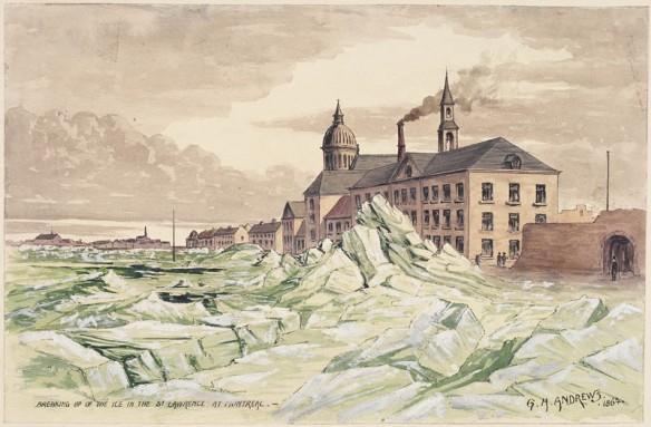 Une aquarelle représentant un amoncellement de glace près des installations portuaires d'une ville.