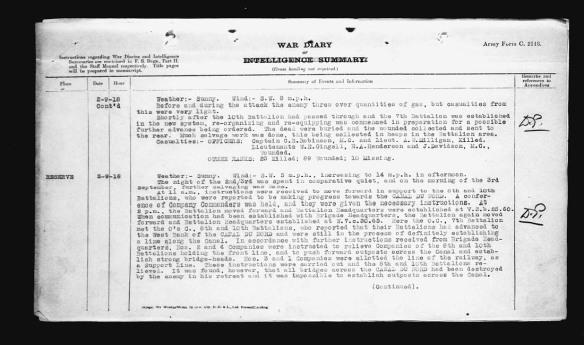 Image noir et blanc d'un document textuel résumant la suite, sur une deuxième page, des activités du 7e Bataillon d'infanterie du Canada le 2 septembre 1918.