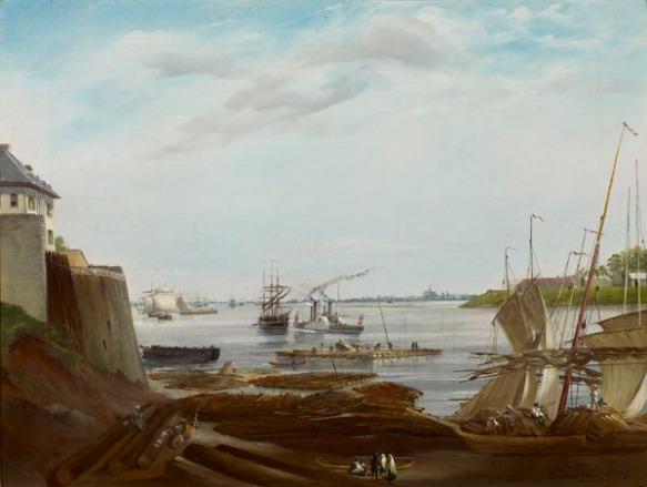 Une peinture à l'huile d'un port et d'un quai, avec une île verdoyante à droite.