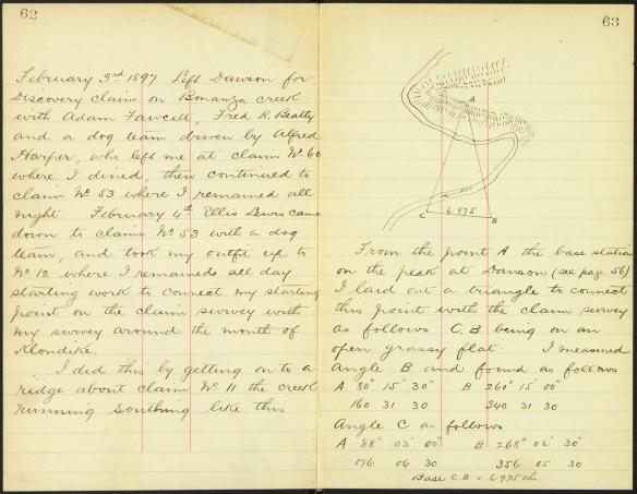 Deux pages manuscrites provenant du carnet d'un arpenteur des terres fédérales qui décrivent les petits détails journaliers des moyens de transport, de l'emplacement de la nourriture, etc.