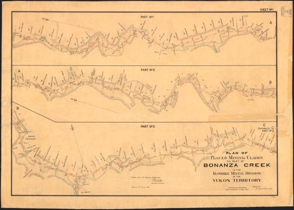 Un plan détaillé montrant trois sections du ruisseau Bonanza avec le nom des concessions données.