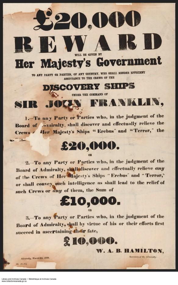 Affiche offrant une récompense de 20 000 £ à qui retrouvera l'expédition Franklin.
