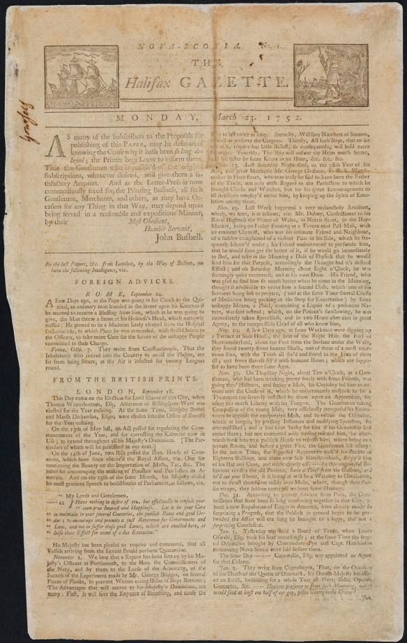 Reproduction couleur de la couverture d'un journal, aux teintes sépia, qui présente un pli dans sa partie supérieure.
