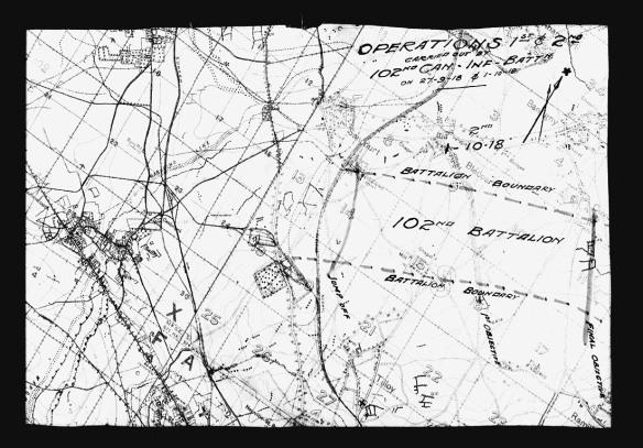 Carte en noir et blanc montrant des frontières et l'emplacement de bâtiments et de structures.