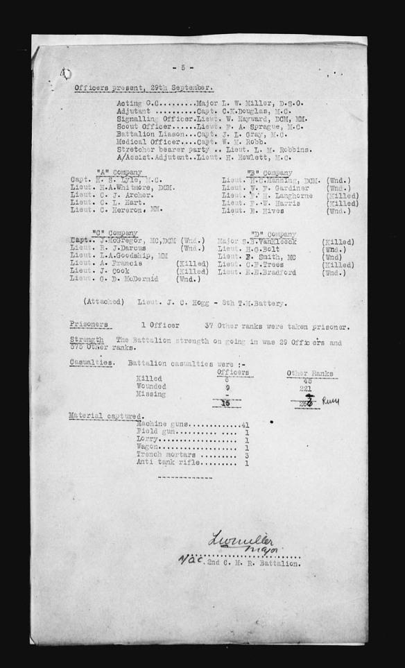 Une copie noir et blanc d'un document textuel dactylographié; les titres sont soulignés et une partie du texte est séparé en colonnes.